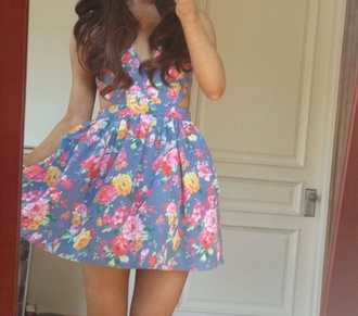 dress ariana grande floral dress vintage flowers floral colorful blue pink orange white