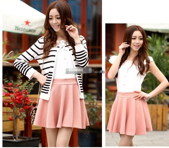 Fashion Women Stretch Waist Plain Skater Flared Pleated Mini Skirt 9CANDY Color | eBay
