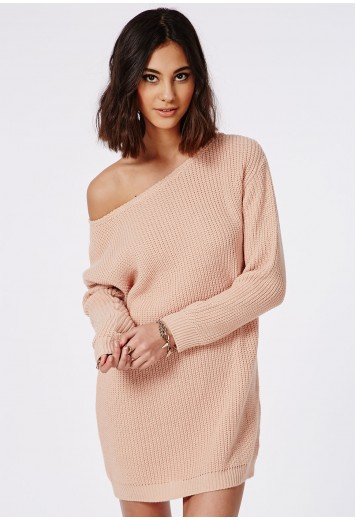 Ayvan off shoulder knitted jumper dress nude