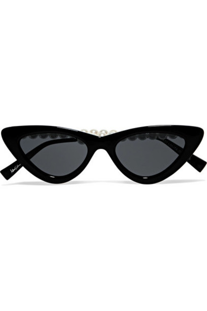 Le Specs - The Last Lolita Faux Pearl-embellished Cat-eye Acetate Sunglasses - Black