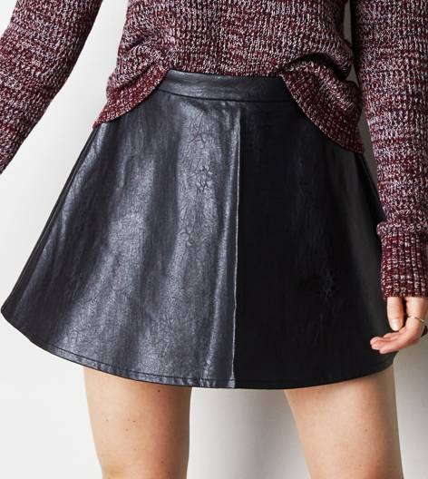 AEO Vegan Leather Circle Skirt, Black | American Eagle Outfitters