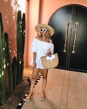 dress,white dress,bag,shoes,sunglasses,hat,off the shoulder,off the shoulder dress