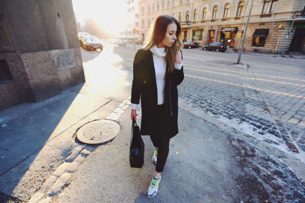 the next episode blogger shoes coat bag sweater pants