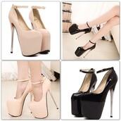 shoes,nude high heels,nude,black,blackheels,platform shoes,high heels,heels,silver