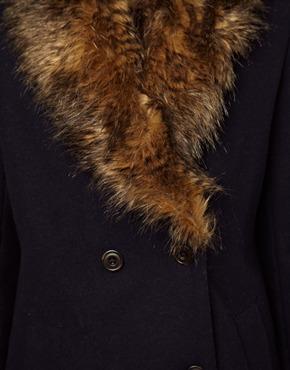 Parka London | Parka London Maisy Pea Coat with Faux Fur Trim at ASOS
