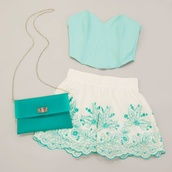 shorts,clothes,printed shorts,print,blue,mint,bralette,bustier,bandeau,bag,sweetheart,white,chiffon,top,embroidered shorts,blue crop top,teal,green,shoes,cute shorts,lovers + friends,perfect,perfection,crop tops,blouse,blue and white,shirt,High waisted shorts,summer shorts,summer outfits,mermaid,sequins,h&m,baby blue,flowered shorts,floral,jewels,beach,hipster,cute,girly,aqua,strapless top,aqua top,aqua blue,white lace shorts,crop too,style,pattern,fashion,Wheretobuy,where did u get that,wheretobuyit,separate,awua,matching set,while,mini,cute skirt,blue shirt,white shorts,chic,tank top,summer,pants,patterrn
