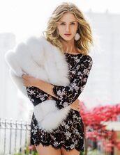 dress,mini dress,fur,fur scarf,model,rosie huntington-whiteley,earrings