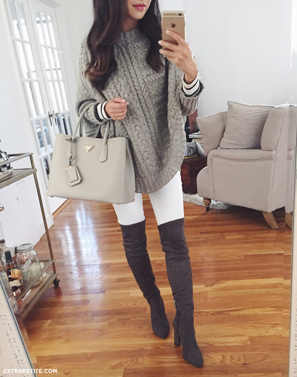 Extra Petite Blogger Bag Sweater Jeans T Shirt Grey