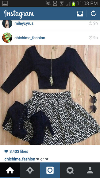 black and white high waisted chic classy polka dot skirt jewels half sleeve basic