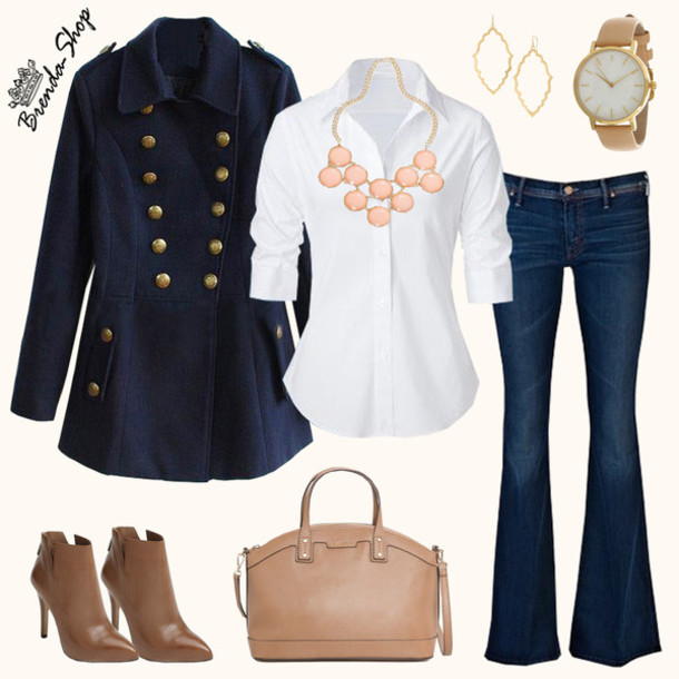 bag, navy coat, blue coat, brown bag, handbag, chic look ...