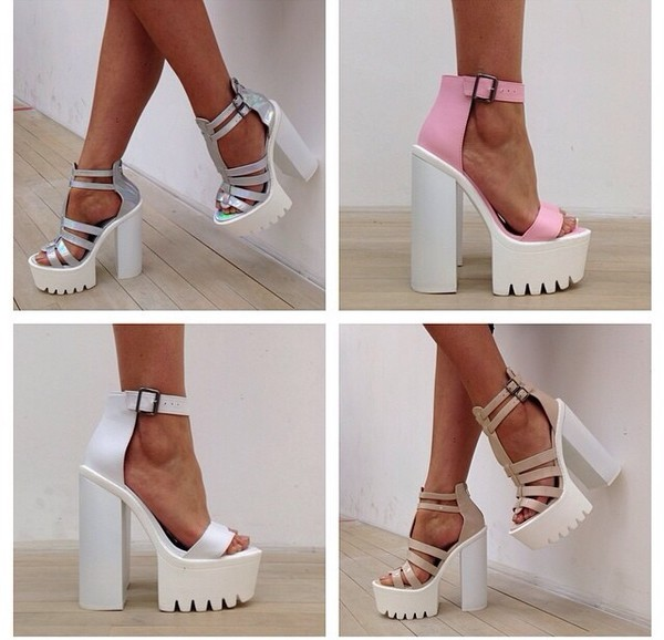 shoes high heels chunky heels white heels block heels style fashion pink metallic heels ankle strap