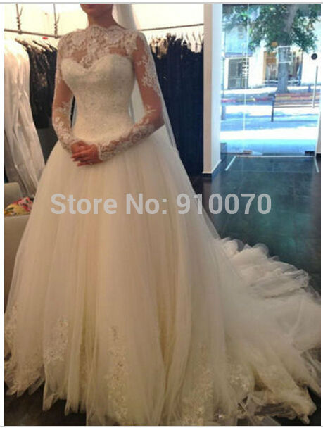 Aliexpress Buy 2015 Custom Made Vestidos Long Sleeve Princess White Bridal Gowns Romantic Appliques Lace Beaded
