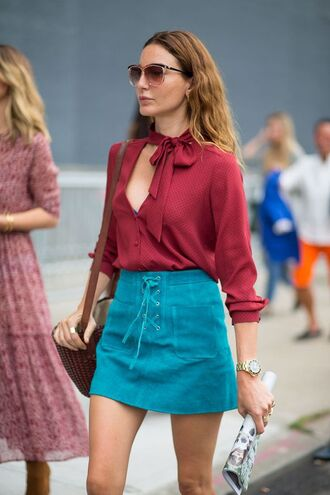 skirt blue suede skirt blue skirt mini skirt suede skirt shirt burgundy shirt bag brown bag streetstyle lace up skirt red shirt long sleeves spring outfits sunglasses brown sunglasses