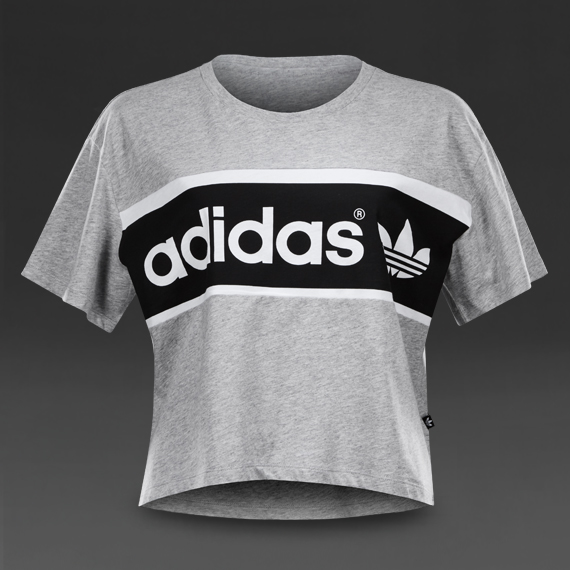 nv46qj i clothing adidas originals city tko tee medium grey heather,Womens Clothing Adidas