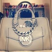 bag,light,grey,michael kors,silverchain,watch,stud,earrings,silver,jewels