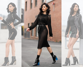 micah gianneli blogger shoes see through cut-out dress black dress black leather jacket black top leather skirt black boots black bra black underwear