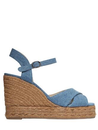 denim sandals wedge sandals blue shoes