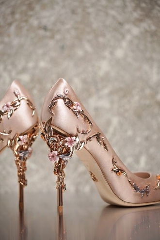 shoes rose gold heels floral