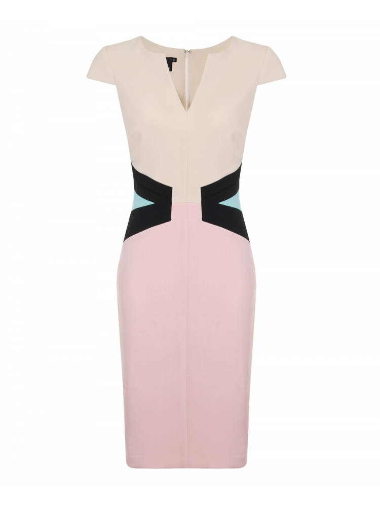 Hybrid Luxe Valerie Crepe Dress Cream with Dusty Pink & Mint