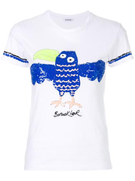 P.A.R.O.S.H. P.A.R.O.S.H. - sequinned bird embroidery T-shirt - women - Cotton/PVC/Sequin - XS, White, Cotton/PVC/Sequin