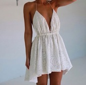 dress,white,white dress,tan,summer,cute summer dress,summer dress,white mini dress #blue #sexy #dress,backless white dress,beach dress,date dress,fashion,lace dress,style,indie boho,short,lace,beautiful,short dress,lovely,cream dress,floral,classy,girly,beach,plunge v neck,v neck dress,v neck,cute dress,printed dress,mini dress