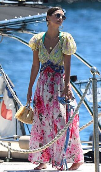 dress maxi dress cannes model off-duty emily ratajkowski floral floral dress