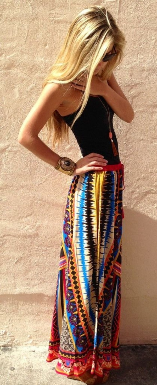 skirt jewels tank top mak skirt tribal maxi maxi skirt tribal pattern skirt boho boho boho skirt bohemian shirt boho chic maxi colorful hippie hippie hipster