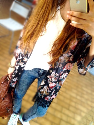 cardigan kimono floral kimono jeans style stan smith adidas wings bag blouse