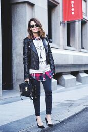 bag,black satchel,leather jacket,rayban wayfarer,phillip lim,pashli,mini satchel bag,phillip lim satchel,slogan t-shirts,black leather jacket,rayban,skinny jeans,black pumps,court shoes,black court shoes,blogger,streetstyle,casual,checked shirt