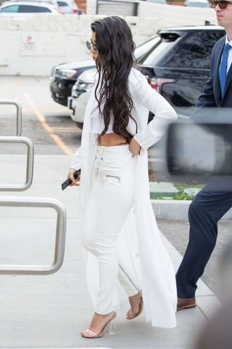 pants crop tops top coat sandals all white everything kardashians kourtney kardashian