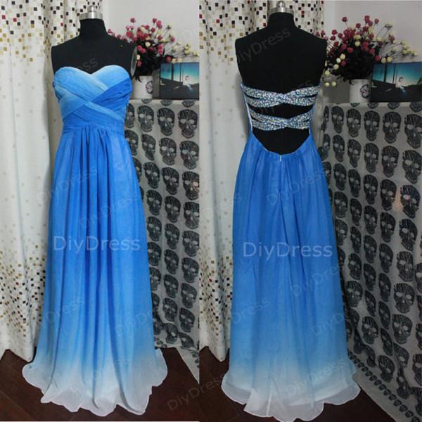 Fading blue prom dress