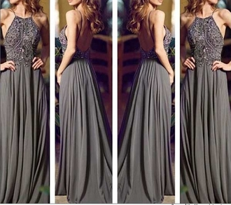 dress beaded dress halter backless prom grey long prom dress formal