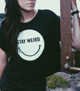 shirt cute stay weird crop tops black comfy everyday smile smiley