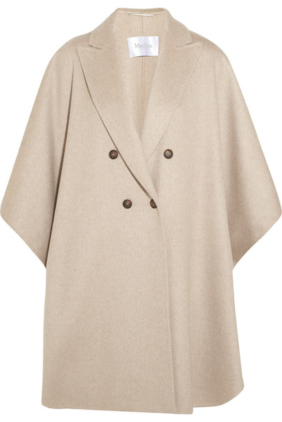 Max Mara Basilio Draped Cashmere Coat in beige / beige