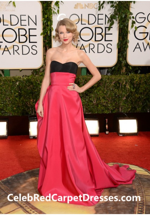 Taylor Swift Black and Fuchsia Prom Dress Golden Globes 2014 Red Carpet