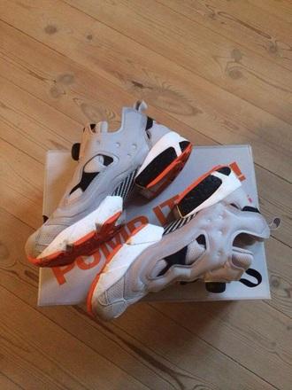 shoes grey instapump instapumpfury orange reebok sneakers