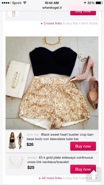 shorts gold sequins High waisted shorts shoes blouse