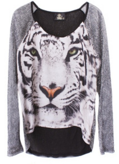 Silver round neck long sleeve tiger print sheer t