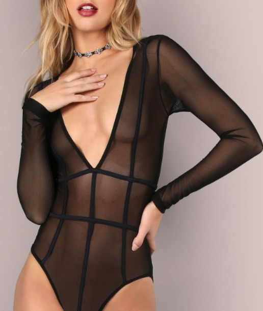 underwear girly black mesh one piece bodysuit lingerie