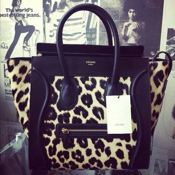 Celine Leopard Pony Hair Mini Luggage Leather Tote Bag Authentic ...