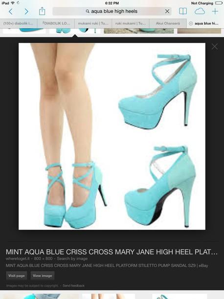 shoes aqua marine high heels