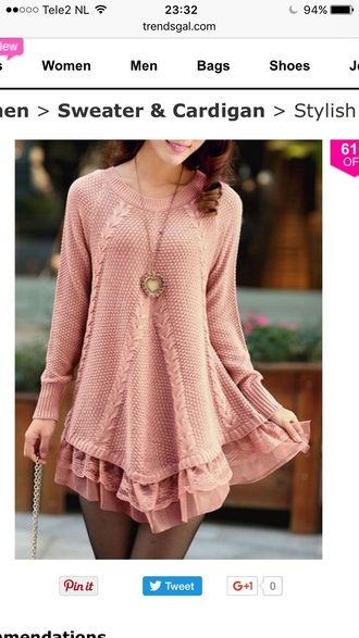 sweater pink fashion style trendy fall outfits long sleeves knitwear girly trendsgal.com