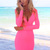 Pink Mini Dress - Neon Pink Long Sleeve V-Neck | UsTrendy