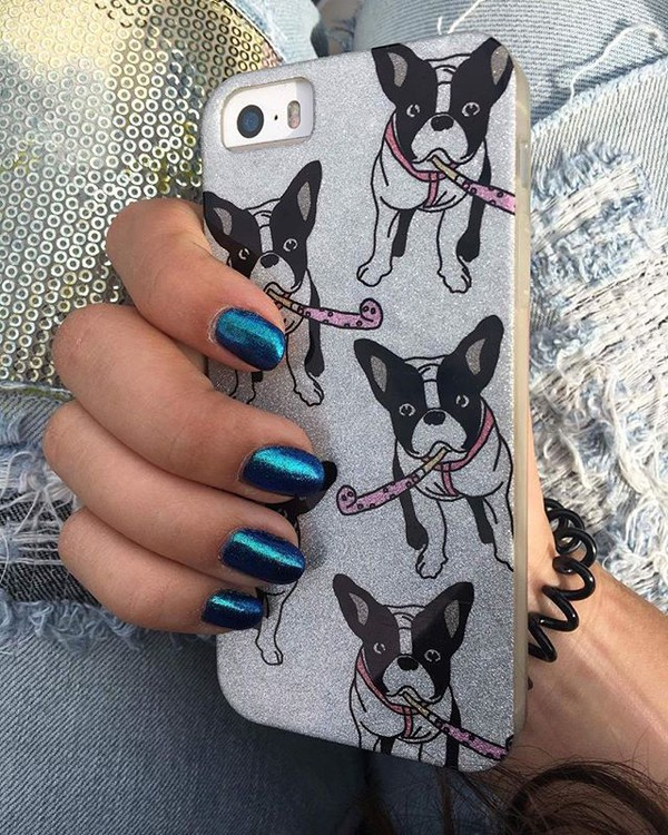 phone cover yeah bunny frenchie dog dog glitter