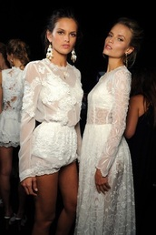 dress,white,lace,long sleeves,long sleeve dress,sheer,dolce and gabbana