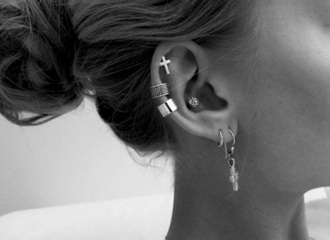 jewels jewelry earrings cross earring cross ear cuff ear piercings