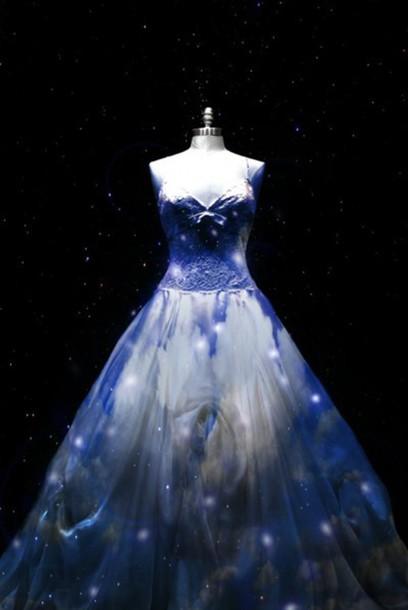 dress galaxy print light prom blue dress glowing dress ball gown dress