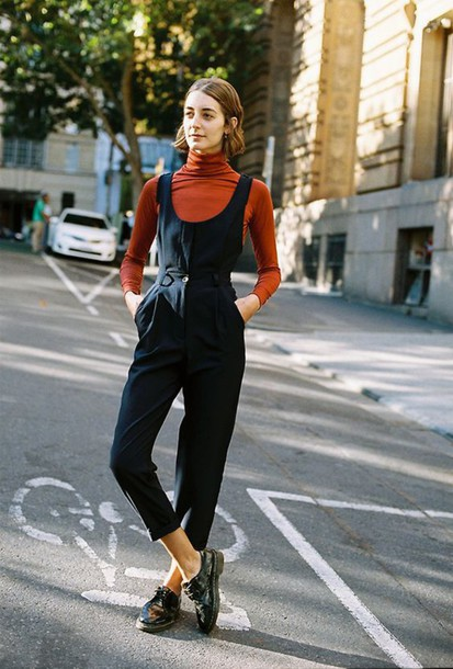 8fa901c4fe4 jumpsuit cropped jumpsuit black jumpsuit cropped top orange top turtleneck  shoes black shoes flats streetstyle fall