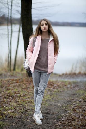 acid coke blogger down jacket pink jacket grey jeans