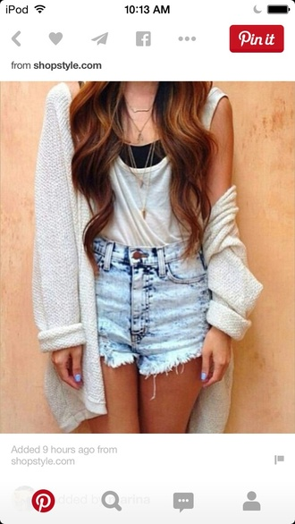 cardigan shorts tank top bandeau necklaces curly hair love ♡ summer loose baggy necklace jewels blouse nail polish
